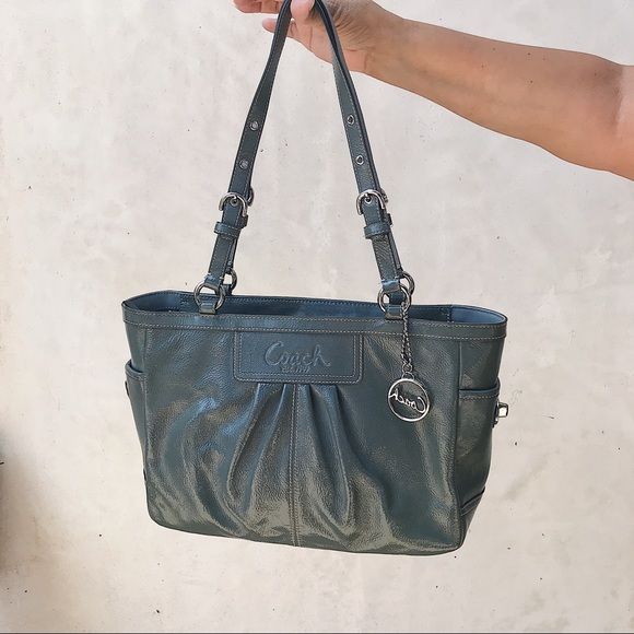 Coach Bags   Patent Leather Bluegrey Bag   Poshmark e4d8f88c24